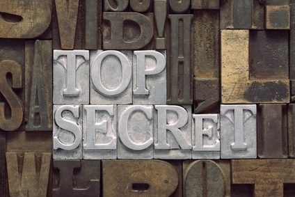 top secret phrase made from metallic letterpress blocks in mixed wooden letters